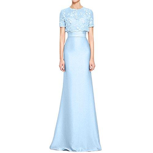 Satin Abendkleider La mit Elegant Braut Festlichkleider Spitze Spitze Himmel Brautmutterkleider Blau Abschlussballkleider mia Jaket XqXrI