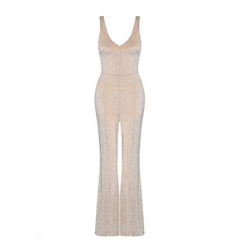 (Fashion Romper Women V Neck Vest Sleeveless Evening Party Slim Flared Pants Sexy Long Jumpsuit Playsuit Summer Clothes Gold 2X)