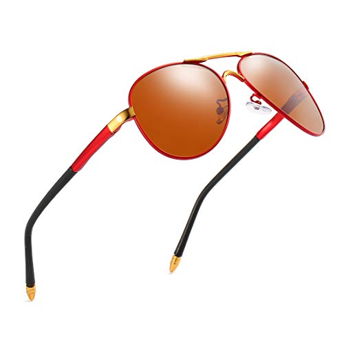 luojery Luxury aviator Men's Polarized Driving Sunglasses shades For Men UV400 (Red Arm Gold Bridge Tea Lens, as the picture) ()