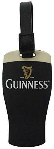 Guinness Signature Pint Black Rubber Luggage Tag - Baggage ID Card Holder