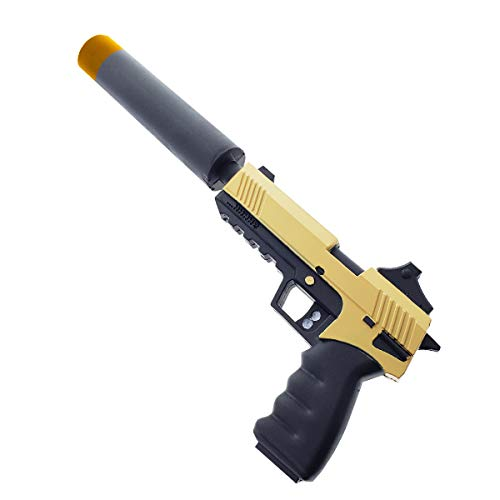 - FN Toy Gun, Foam Pistol, Foam Gun with Silencer, Sneaky Silencers Mode Prop Replica for Cosplay, Gifts, Collectible Yellow
