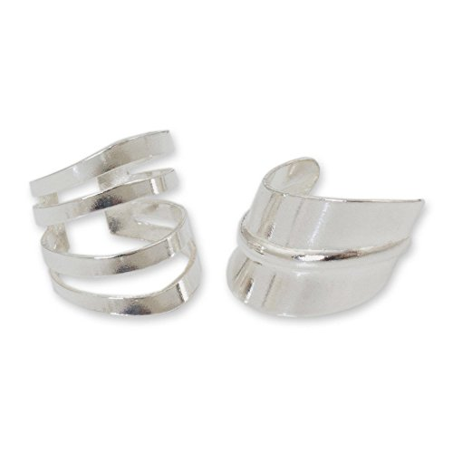 Sterling Two Leaves - NOVICA Set of 2 Minimalist Adjustable .925 Sterling Silver Ear Cuffs, Modern Day' (pair)
