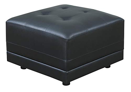 Poundex F6564 Tufted Seat Square Ottoman in Black Bonded Leather (Bonded Sleeper Leather Ottoman)