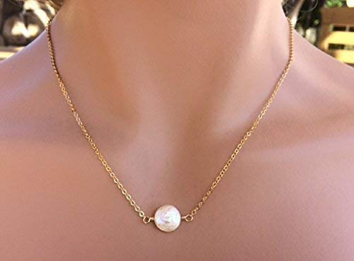 Coin Freshwater Cultured Pearl Necklace Wedding Bridal Jewelry - 18