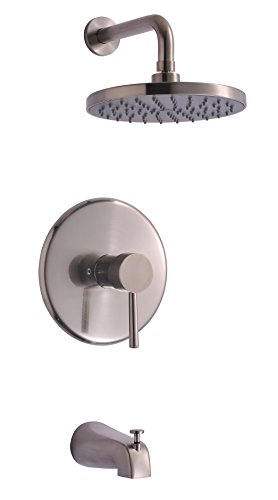 Derengge TF-0093-BN Single Handle Tub & Shower Faucet, Pressure Balanced Valve, Anti-Scald, with 8