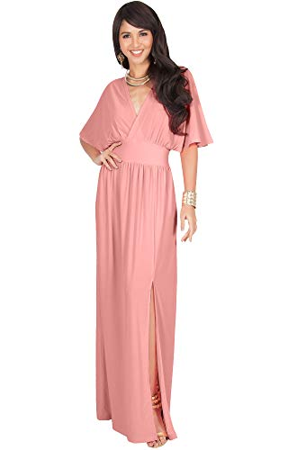 KOH KOH Plus Size Womens Long Sexy Kimono Short Sleeve Slit Split V-Neck Party Cocktail Evening Bridesmaid Wedding Guest Sun Gown Gowns Maxi Dress Dresses for Women, Light Pink 2XL 18-20