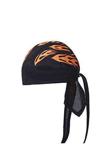 Flame Bandana (Cotton Do Rag Skull Cap Biker Head Wrap Durag Cycling Bandana Motorcycle Headwear (Black, Orange Flames))