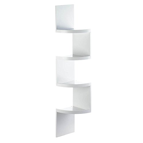 Accent Plus Corner Shelf Wood, Corner Shelf Units Decorative White 4-tier Corner Shelf by Accent Plus