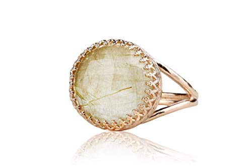 Anemone Jewelry Timeless Rutilated Quartz Ring - 14K Rose Gold-filled Double Band - Handmade Jewelry for Women - Bridal, Birthday, BFF, Anniversary, Mom Ring [Free Gift Box] 14k Quartz Jewelry Box