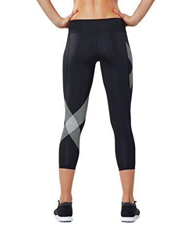 2XU Women's 7/8 Mid-Rise Compression Tights, Black/Striped White, X-Small by 2XU (Image #2)