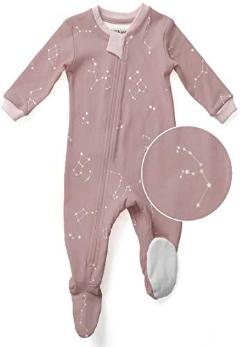 Organic Baby Sleepers - ZippyJamz Organic Baby Footed PJs w/Inseam Zipper - Galaxy Love - Pink (9-12 Mos)