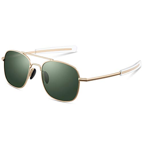 Pilot Aviator Sunglasses for Men Retro Military Navigator Army Polarized Classic Gold Glasses (Sunglasses Pilot For Men)