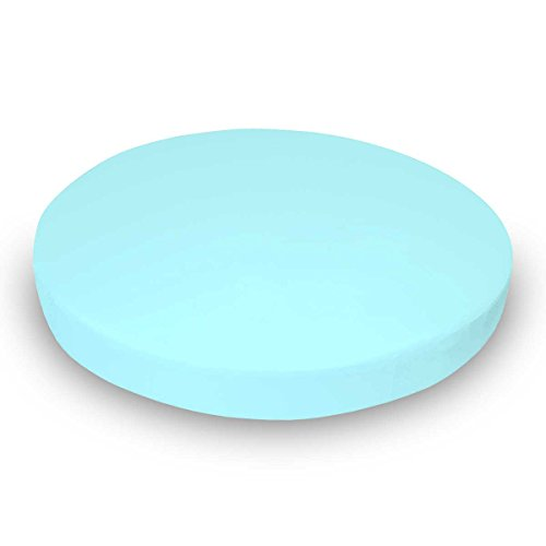 SheetWorld Round Crib Sheet - Solid Aqua Jersey Knit - Made