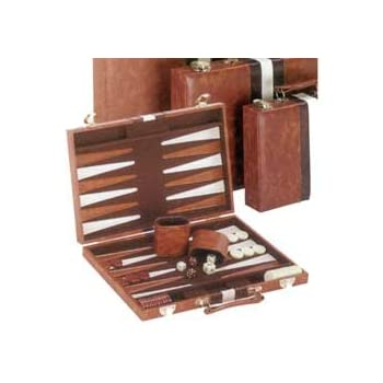 """Vinyl with Ripes Backagammon Set, Brown, 11"""""""