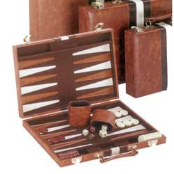 (CHH Vinyl with Ripes Backagammon Set, Brown, 11