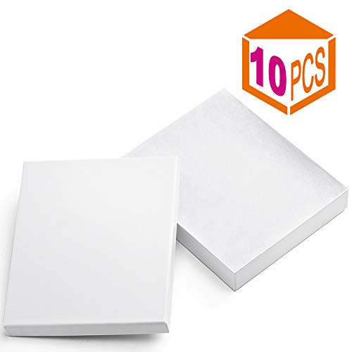 MESHA Cardboard Paper Box for Jewelry and Gift 6x5x1 Inch Thick Paper Box With Cotton Lining, pack of 10 (white)