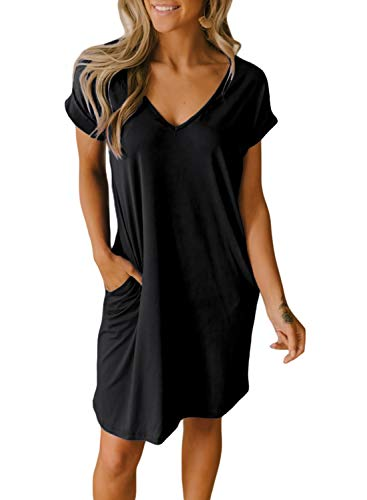 (BTFBM Women V-Neck Short Sleeve Solid Color Casual Loose Fit T-Shirt Tunic Dress with Two Side Pockets (Black, XX-Large))
