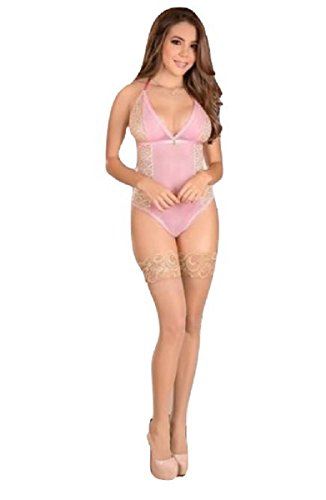 Magic Silk Lingerie Teddy W/snap Crotch Pink (Large)