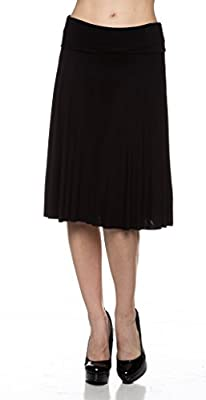 Apparel Sense A.S Solid Basic Fold-Over Stretch Midi Skirt - Made in USA