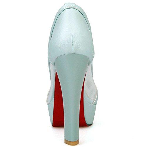 Blue Party Pumps Dress Shoes Hollow Peep Platform Women LongFengMa Toe Heeled Lace Block zqv7fxPEw