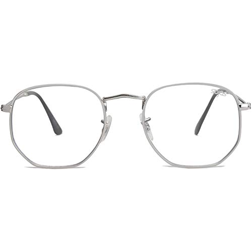 SOJOS Blue Light Blocking Glasses Hexagonal Eyeglasses Frame Anti Blue Ray Computer Game Glasses SJ5036 One and Only with Silver Frame/Anti-blue Light ()