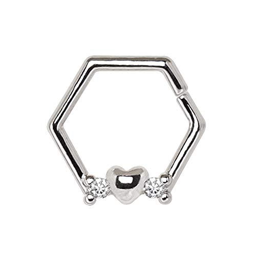 Amelia Fashion 16 Gauge Heat Hexagon with CZ Captive Bead Ring Annealed 316L Surgical Steel (Steel & Clear CZ) ()