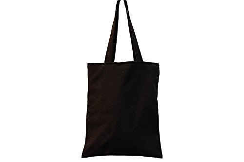 - Nuni Unisex DIY Plain Solid Black Canvas Tote Bag (Zip closure, Black)