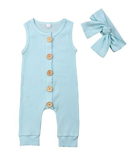 VISGOGO Newborn Baby Girls Kid Solid Colour Bodysuit Sleeveless Romper Jumpsuit + Headband 2PCS Clothes Sets (Blue, 0-6 Months)]()