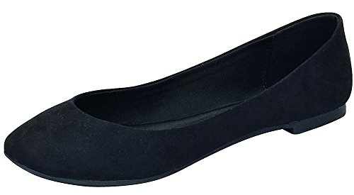 Women's Slip Pointed On Toe Flats Ballet Breckelle's Black 8wZCqdZ