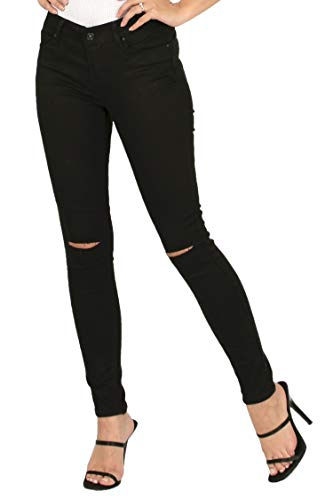 Vialumi Regular Midrise Solid Full Length Slit Knee Twill Pants with Pockets Black 7 (Jeans Black Twill)