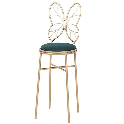 WonLon Simple Butterfly Bow Tie Vanity Chair,Nordic Garden Iron Barstool Chair Romantic Designed Makeup Leisure Stool Handmade seat for Kitchen Pub Breakfast Dining,38×38×115cm