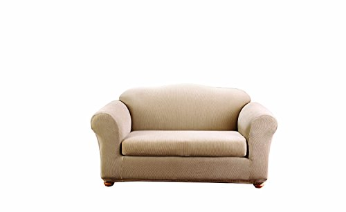 (SureFit Stretch Stripe 2-Piece - Loveseat Slipcover - Sand)