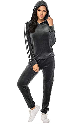 Hotouch Pullover Set Women Velour Sweatsuit Hoodie &Long Pants Athletic Sweatsuits Gray 2XL