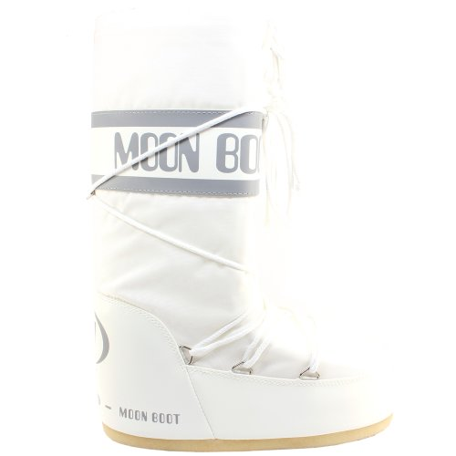Moon Boot Womens Tenica Original Winter Snow Waterproof Nylon Snow Boots - White - 3-6.5 (Snow Moon Boots Winter)