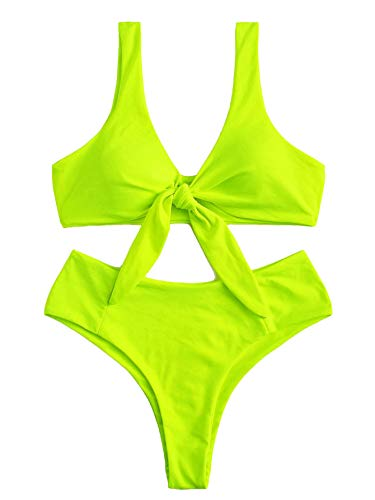 SOLY HUX Women's Neon Lime Knot Front Top with Panty Bikini Set Sexy Bathing Suits Two Piece Swimsuits Neon Green M