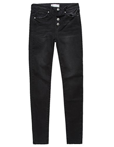 (RSQ Manhattan High Rise Exposed Button Girls Skinny Jeans, Black, 8)