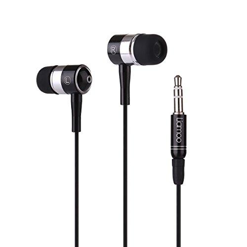 In-Ear Kopfhörer mit power Bass - klarem Stereo Sound - High-End Ohrhörer von Liamoo Audio - Ear-phone aus hochwertigem Aluminiummit 3,5mm Klinke-Stecker für Musik-genuss am Handy Tablet MP3-Player und anderen Geräten in Schwarz