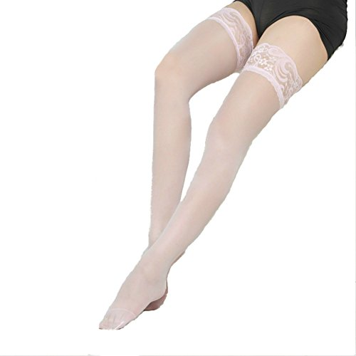 Women's Sheer Silky Thigh Highs Stockings with Stay Up Silicone Lace Top (Pink) (Pink Spandex Sheer Stockings)