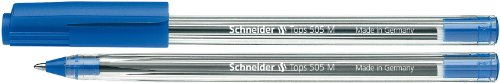 Schneider Tops 505 M Kugelschreiber (Clipkappe, Edelstahlspitze) 50er Packung blau