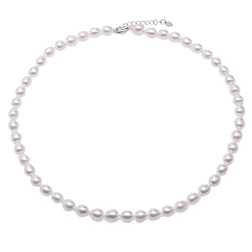 JYX Pearl Strand Necklace AA Quality 5-6mm Oval White Freshwater Cultured Pearl Necklace for Women in Adjustable Length