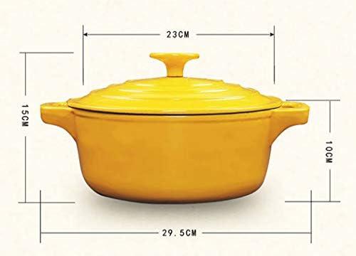 Marmite en fonte bleue de 23 cm - Marmite en émail - Cuisinière à gaz à induction (taille : 23,1 cm de long x 9,9 cm de hauteur)