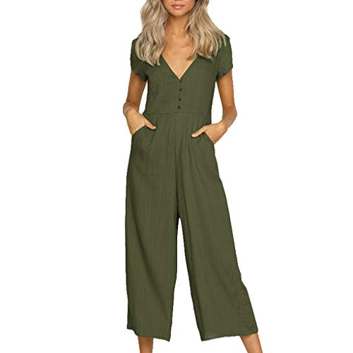 - vermers 2019 New!!Loose Jumpsuits Women Deep V-Neck Rompers Linen and Cotton Short-Sleeved Long Pants with Button