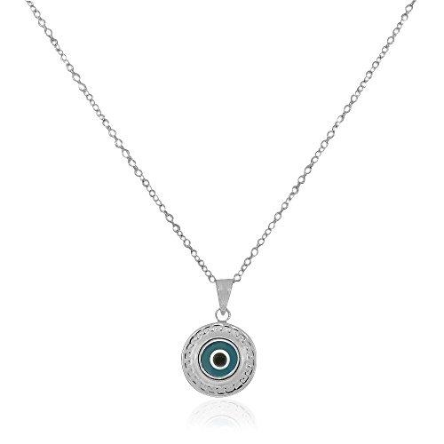 925 Sterling Silver Greek Key Light Blue Glass Two-Sided Womens Evil Eye Pendant -