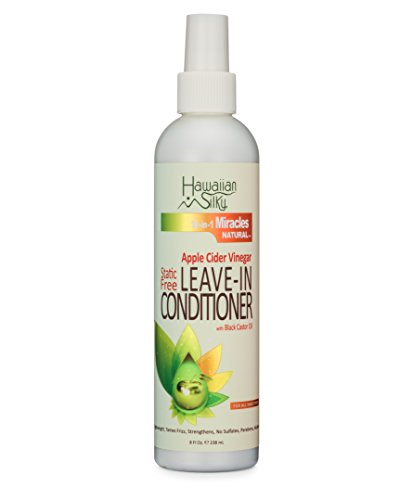 Hawaiian Silky Static-Free Apple Cider Vinegar Leave-in Conditioner, 8 fl oz - Black Castor Oil Extract for Hair Growth - Natural Treatment Men, Women & Kids - Good on Color Treated Scalp