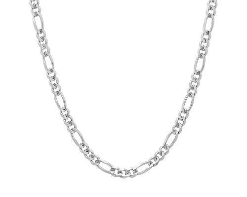 4mm Silver Figaro Chain - 925 Sterling Silver 3.5MM, 4MM, 4.5MMFigaro Link Chain Necklace - Silver Figaro Link Necklace for Men 18-30