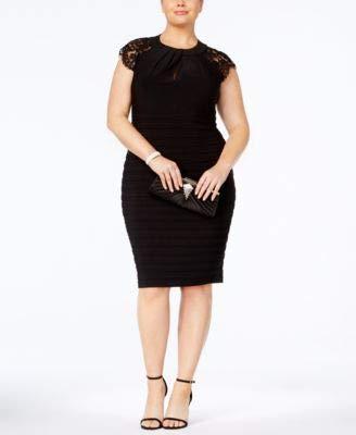 Betsy & Adam Womens Plus Shutter Pleat Special Occasion Dress Black 16W