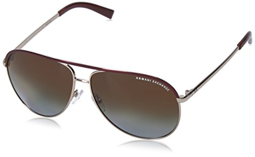 Armani Exchange Metal Unisex Aviator Sunglasses, Light Gold/Dark Brown, 61 - Armani Aviator Sunglasses