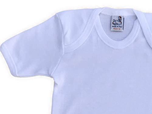 Made in Italy-4 Body per Neonato con Manica Corta in Caldo Cotone(Bianco o Fantasia) 3