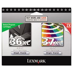 3 X Lexmark 36XL/37XL High Yield Black/color Return Prog Print Cart (Return Prog Cart)