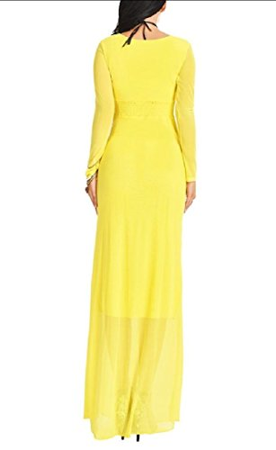Dress Solid Sexy Long Sleeve Color Slim Maxi Women Yellow Comfy Long Fitted wI65v6q